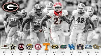 2015 UGA Schedule Wallpaper ft Nick Chubb