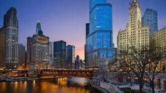 Download Wallpaper Evening Chicago Illinois state 1920 x