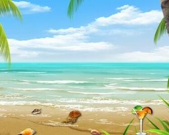 Tropical Beach Vector Collage Hd Wallpaper Wallpaper List
