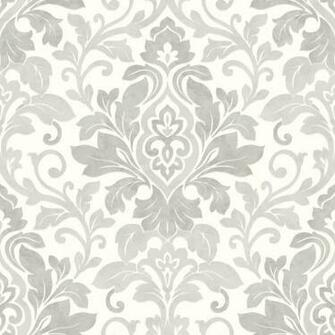 Silver Grey White   414603   Mozart   Damask   Arthouse Wallpaper