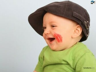 Cute Baby Boy Picture Lipstick On Cheek HD Wallpaper Baby Pictures