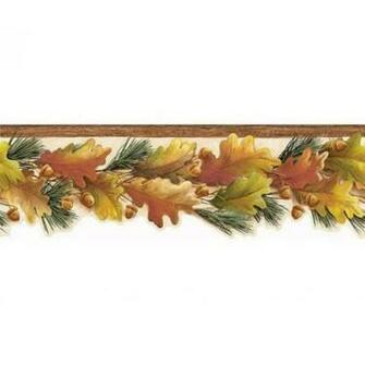 Lodge Fall Autumn Laser Cut Leaves and Acorns Wallpaper Border   All 4