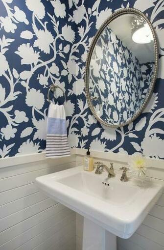 Wallpaper BlueandWhite FloralWallpaper Wainscoting Shiplap