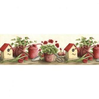 Norwall 9 12 Kitchen Style Gardening Prepasted Wallpaper Border