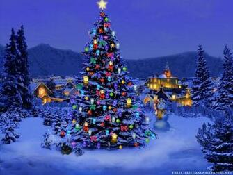 Merry Christmas tree with snow wallpaper for desktop