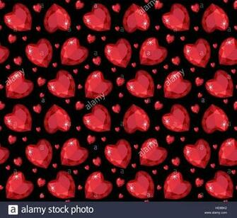 Jewelry ruby red heart seamless pattern Brilliant gems hearts
