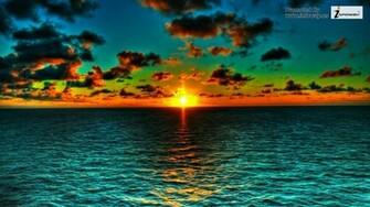 High resolution beautiful nature wallpapers orange green ocean sunset