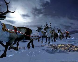 3D Santa Claus Goes To Moon Christmas Wallpaper