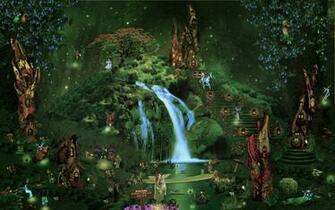 castle city forest waterfall fairy elf magical wallpaper background