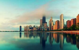 Chicago Illinois city skyscrapers water fog Wallpaper