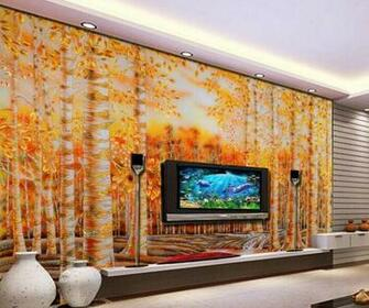 large wallpaper Custom wallpaper Golden eagles birch color mural wall