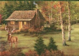 Deer Cabin Lodge Wallpaper Border