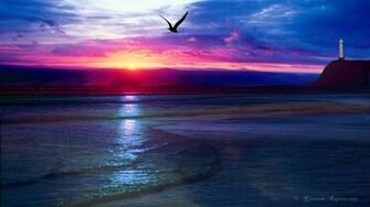 Desktop Themes Ocean Sunset Widescreen Wallpaper Windows XP