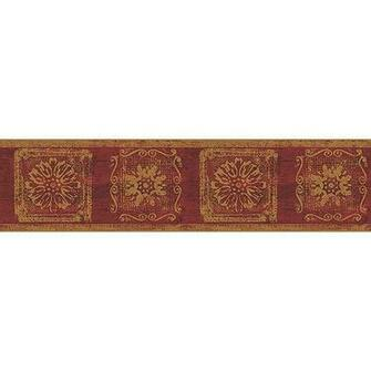 Blue Mountain Gold Contemporary Wallpaper Border Burgundy and Gold