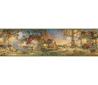 Green Lakeside Lodge Cottage Wallpaper Wall Border