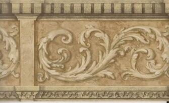Architectural Wallpaper Border Gold Scroll Molding Wall Border Gold