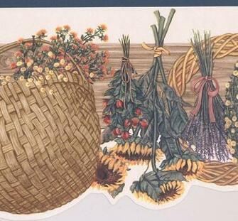 Floral Wreath Bouquet Basket Farmhouse Wide Wallpaper Border Retro