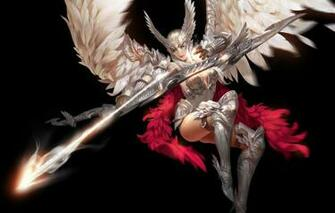 Wallpaper look girl pose weapons background wings feathers