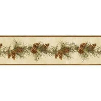 Pine Cone Boughs Wallpaper Border BBC48401B Lodge Cabin