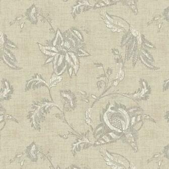 Interior Place   Beige Grey Jacobean Floral Scroll KC1837 Wallpaper