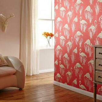 Vintage Lagoon Traditional Oriental Flamingo Textured Wallpaper 252601