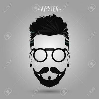 Hipster Men Beard Style Symbol On Gray Background Royalty