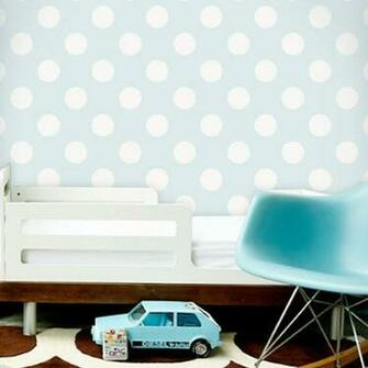Home Products Polka Dot Off White Blue Removable WallPaper