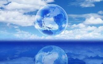 Blauwe desktop wallpaper met wereldbol in de wolken
