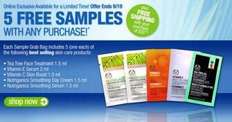 the 5 samples offer entitles online customers to receive tea tree