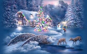 Winter   Christmas Scenery Hd Desktop Wallpaper