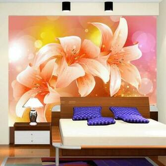 tv wallpaper lily flower bedroom wallpaper mural tv background wall