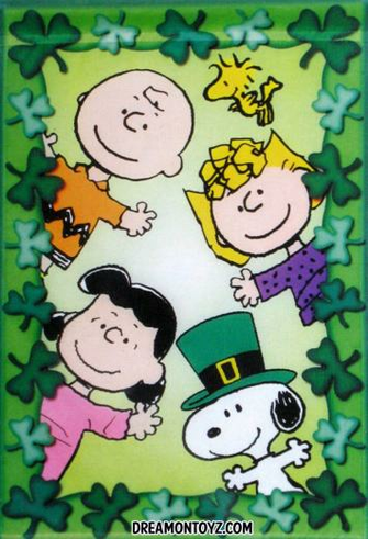 Sally Brown Lucy Van Pelt and Snoopy surrounded by shamrocks