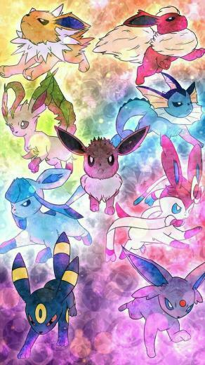 Eevee evolutions Sylveon Vaporeon Flareon Jolteon Glaceon
