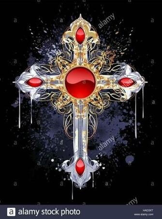 jewelry Gothic cross of silver and gold adorned with rubies and