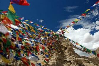 Tibetan Buddhist Wallpapers Tibetan Buddhist Prayer flags on top