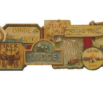 Camping Signs Lodge Wallpaper Border Tools