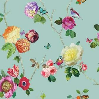 Flower Pattern Bird Butterfly Rose Floral Motif Wallpaper 889800
