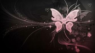 Black And White And Pink Butterfly With Hearts by Missliss40 on