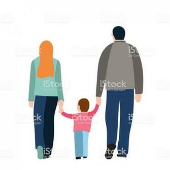 Back View Of Walking Parents Hold Kid Isolated Over White
