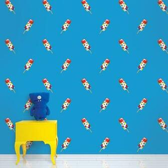 Push Pops in Blue Removable Wallpaper by Wallcandy Arts