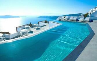 Swimming pool Greece Santorini hotel luxury HD wallpaper