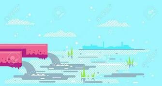 Water Pollution From Industrial Pipe Concept Illustration
