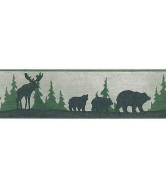 Bear And Moose Silhouette Wallpaper Border SampleGreat Woods Grey Bear