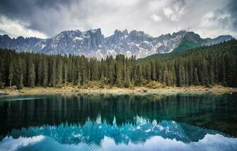Wallpaper forest mountains lake Italy Bolzano Lake Carezza
