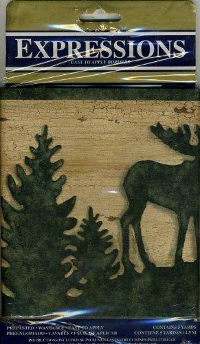 the popular Moose Bear Deer Pine Tree Lodge Wallpaper Border