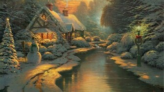 1920x1080 Christmas Cottage desktop PC and Mac wallpaper