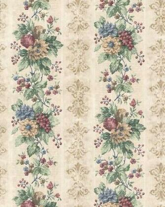 Details about KITCHEN HABITAT FLORALFRUIT STRIPES Wallpaper HB24181