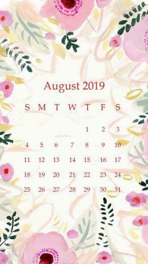 Beautiful floral Design August 2019 iPhone Calendar   Copy