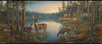 Wall Border with Deer Near a Cabin
