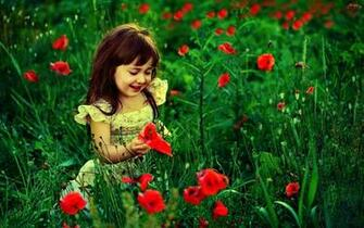 Wallpapers Cute Baby Girl With Red Flowers HD Wallpaper Cute